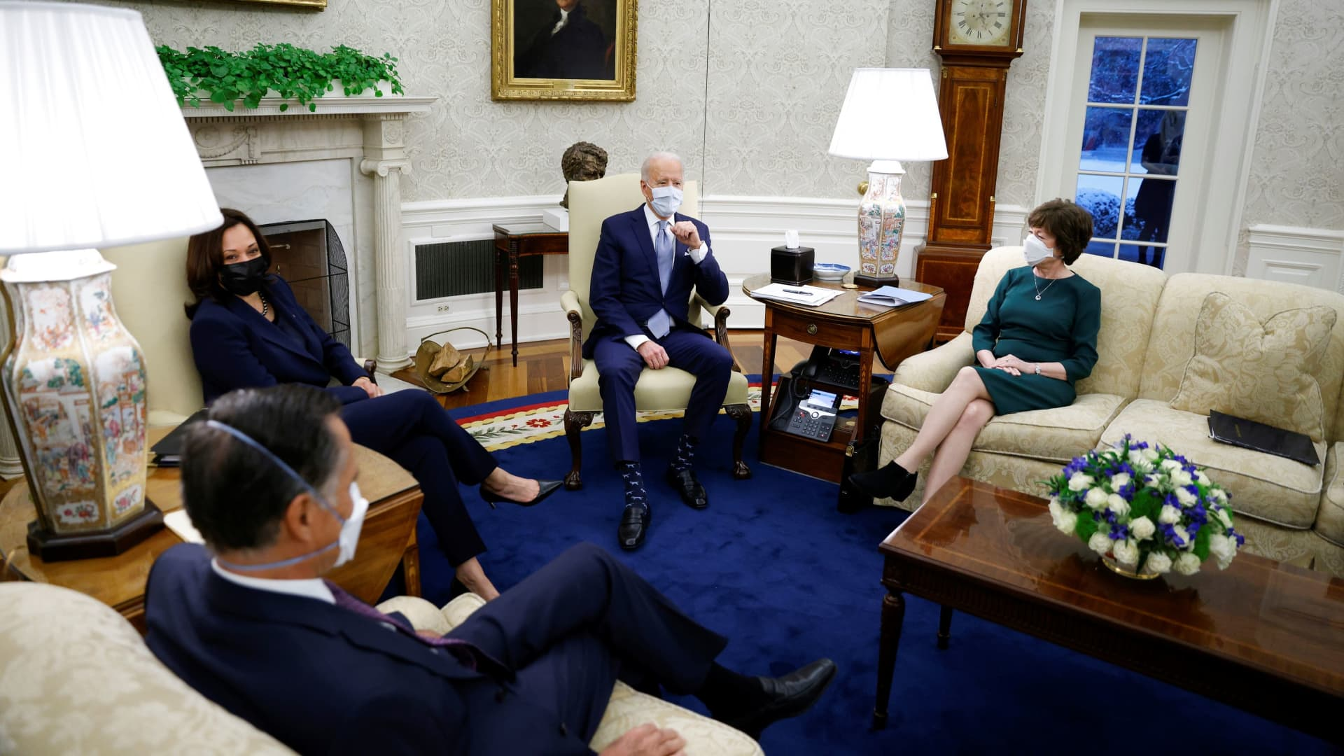 President Joe Biden and Vice President Kamala Harris meet with a group of Republican senators to discuss coronavirus federal aid legislation inside the Oval Office on Feb. 1, 2021.