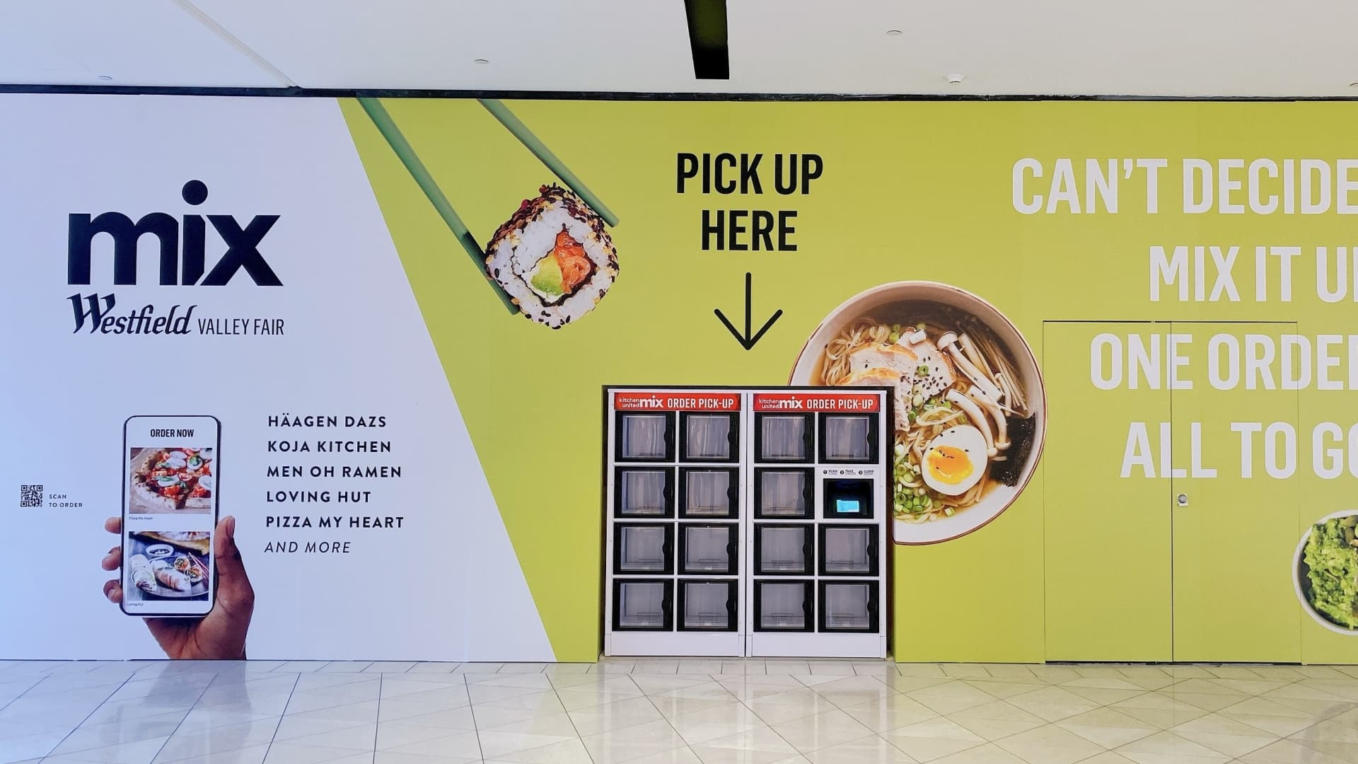 Mix kiosk at Westfield Valley Fair Mall.