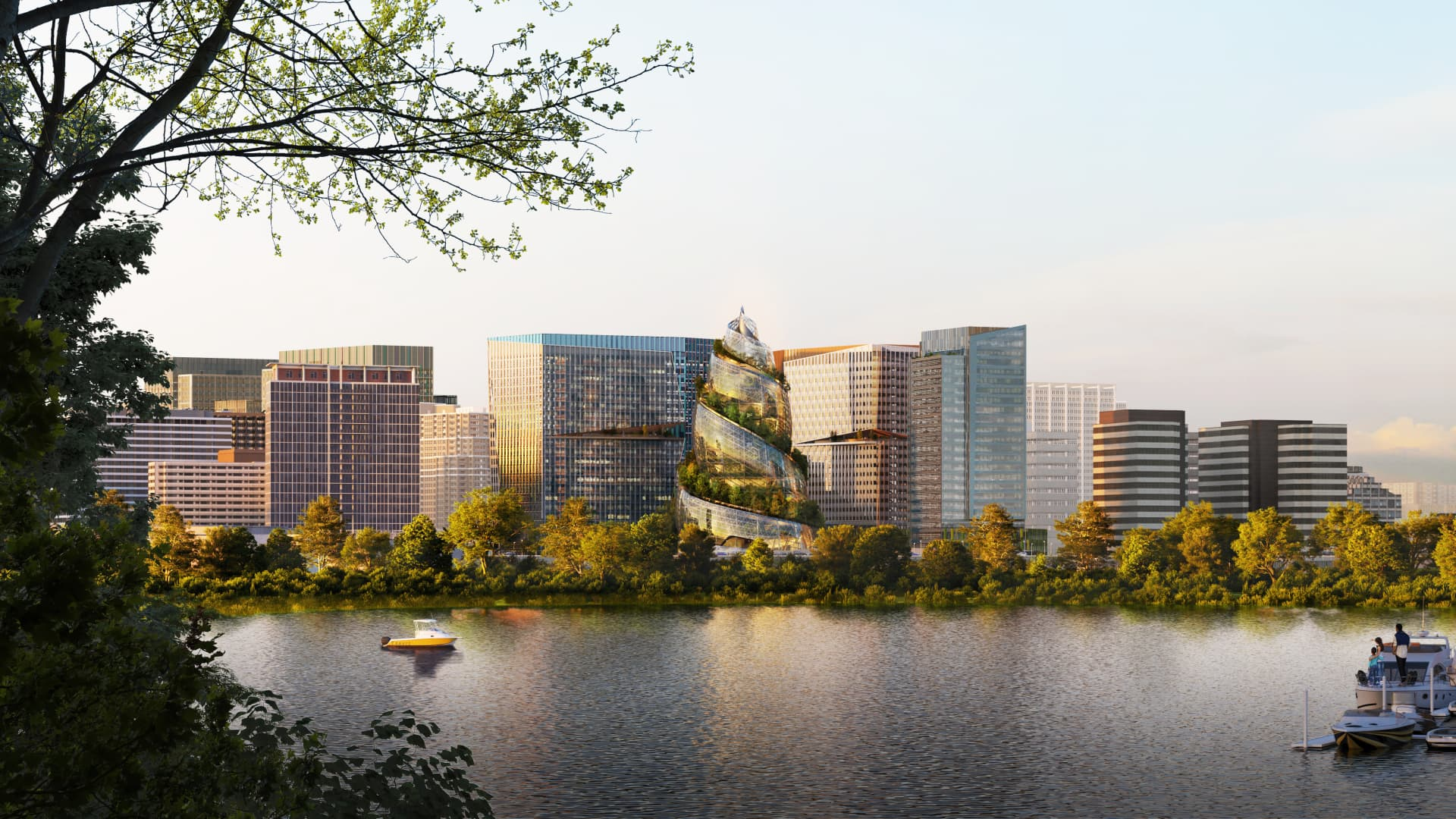 Amazon unveiled new renderings of its Arlington, Virginia headquarters, which include The Helix, a uniquely designed 350-foot-tall tower.