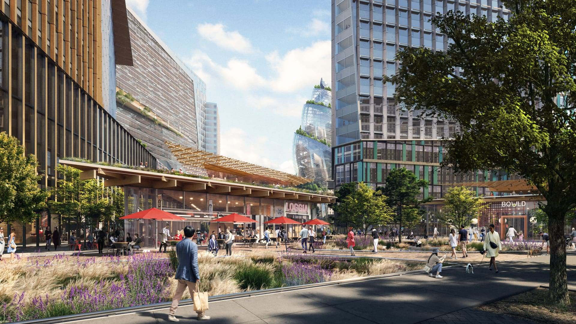 The project plans include three retail pavilions to feature space for restaurants, shops, outdoor eating and gathering spaces.