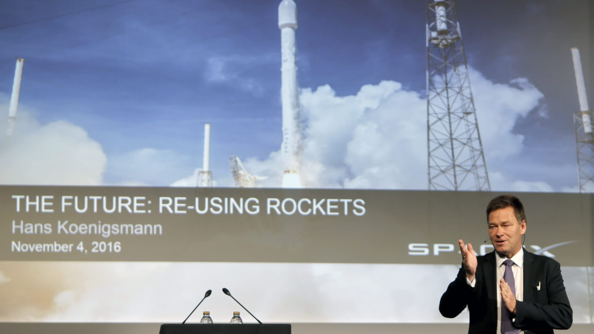 Hans Koenigsmann, VP of Mission Assurance at SpaceX, speaks at the World Space Risk Forum (WSRF) in Dubai on November 4, 2016.