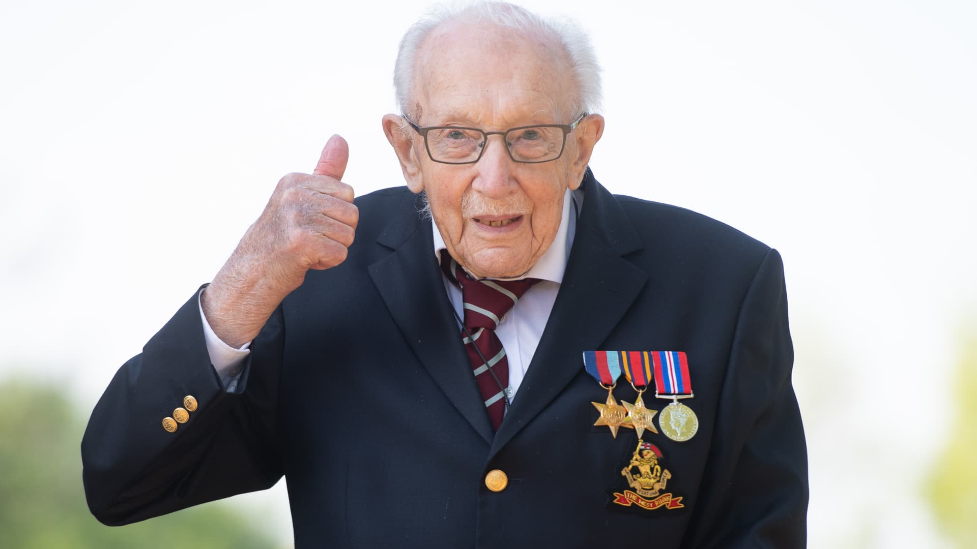99-year-old war veteran Captain Tom Moore at his home in Marston Moretaine, Bedfordshire, April 16, 2020, after he achieved his goal of 100 laps of his garden - raising more than 12 million pounds for the NHS.