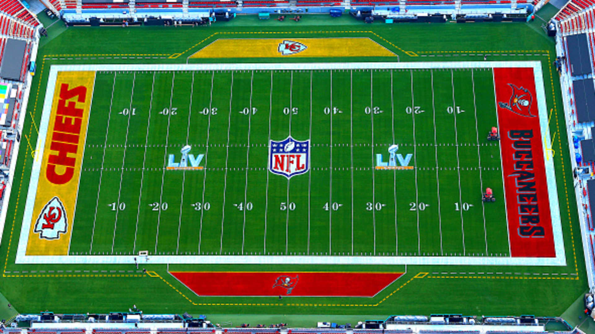 An aerial view of Raymond James Stadium ahead of Super Bowl LV on January 31, 2021 in Tampa, Florida.