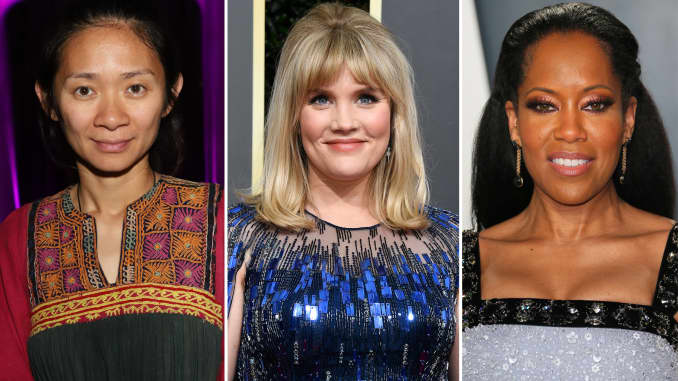 Golden Globe nominees for Best Director: Chloe Zhao (L), Emerald Fennell (C), and Regina King