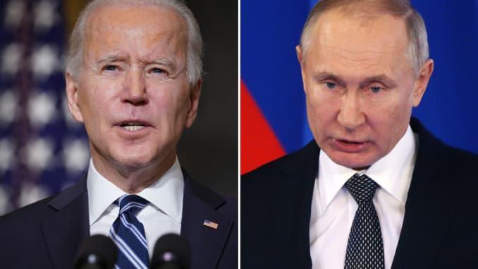 President Joe Biden (L) and President Vladimir Putin.