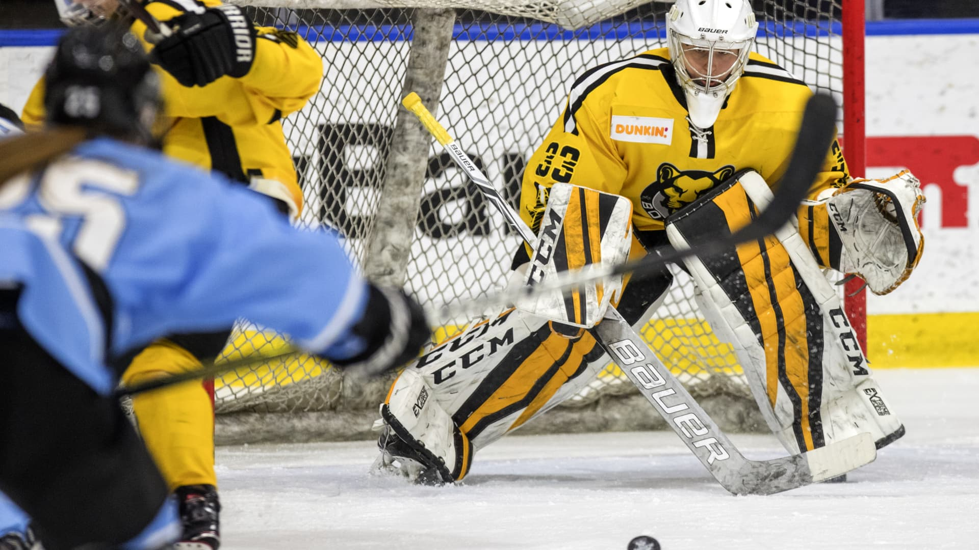 Katie Burt, goaltender for the Boston Pride, plays against the Buffalo Beauts in an NWHL playoff game at Harborcenter in Buffalo, NY on March 9, 2019.