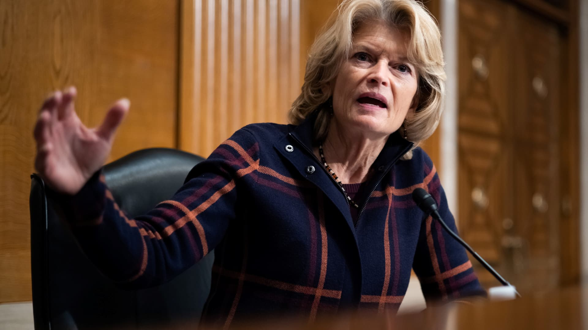 Senator Lisa Murkowski, R-AK, speaks during a Senate Health, Education, Labor and Pensions Committee nomination hearing for Marty Walsh to be labor secretary, on Capitol Hill in Washington, DC, February 4, 2021.
