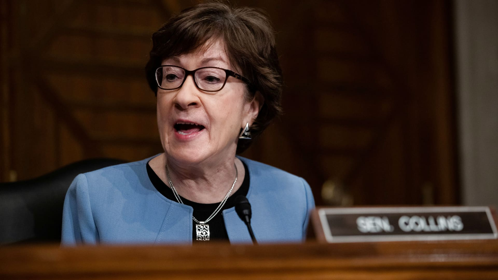 Senator Susan Collins, R-ME, speaks during a hearing for Marty Walsh to be labor secretary, on Capitol Hill in Washington, DC, February 4, 2021.