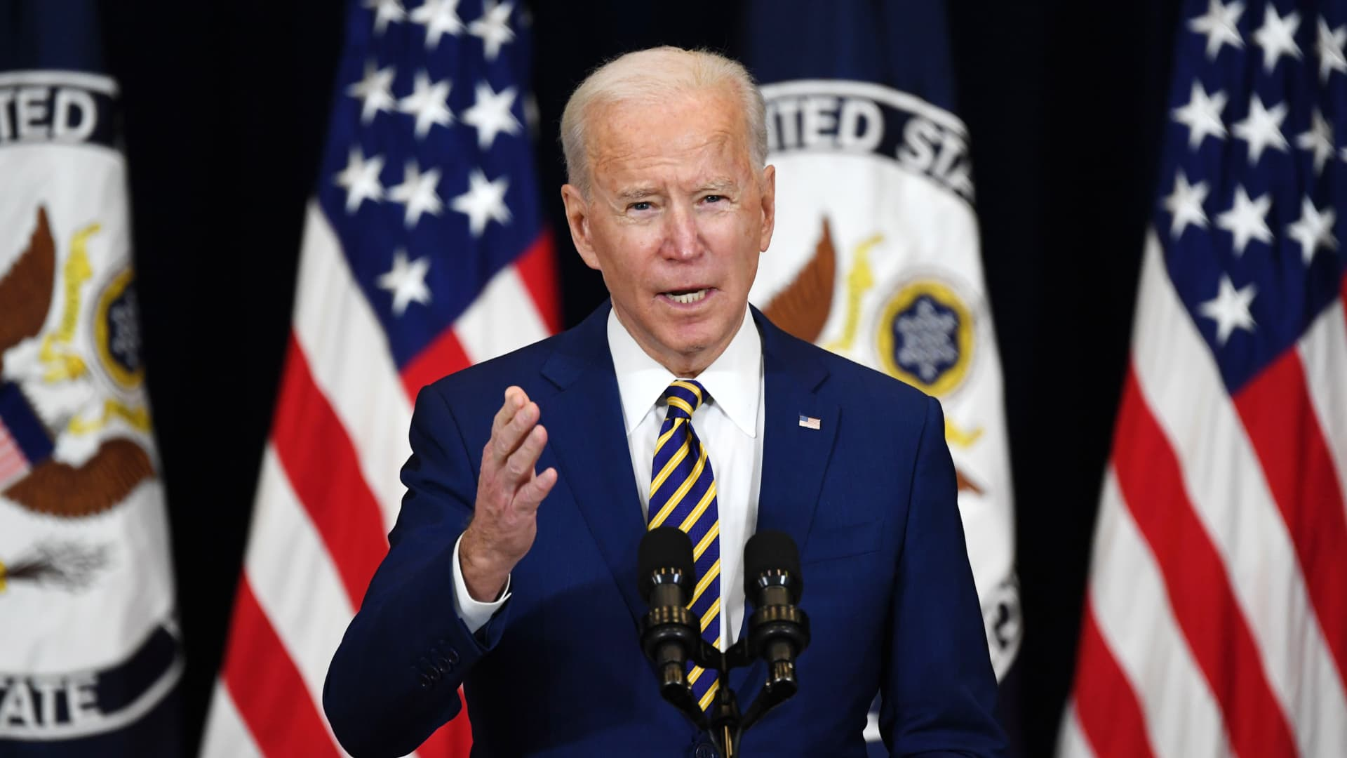 President Joe Biden speaks to staff of the US State Department during his first visit in Washington, DC, February 4, 2021.