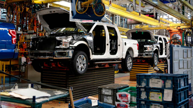 This photo shows Ford 2018 and 2019 F-150 trucks on the assembly line at the Ford Motor Company's Rouge Complex on September 27, 2018 in Dearborn, Michigan.