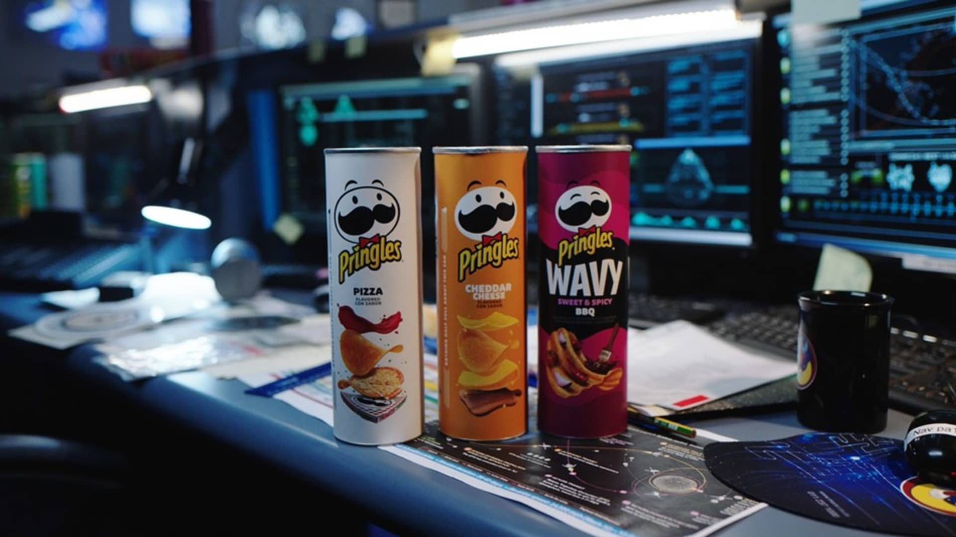 Pringles tubes for the brand's Super Bowl 2021 ad.