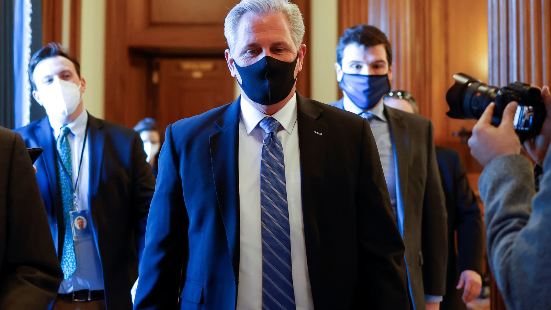 U.S. House Minority Leader Kevin McCarthy (R-CA) walks through the U.S. Capitol prior to a vote in the U.S. House of Representives on a Democratic-backed resolution that would punish U.S. Rep. Marjorie Taylor Greene for her incendiary remarks supporting violence against Democrats, on Capitol Hill in Washington, February 4, 2021.