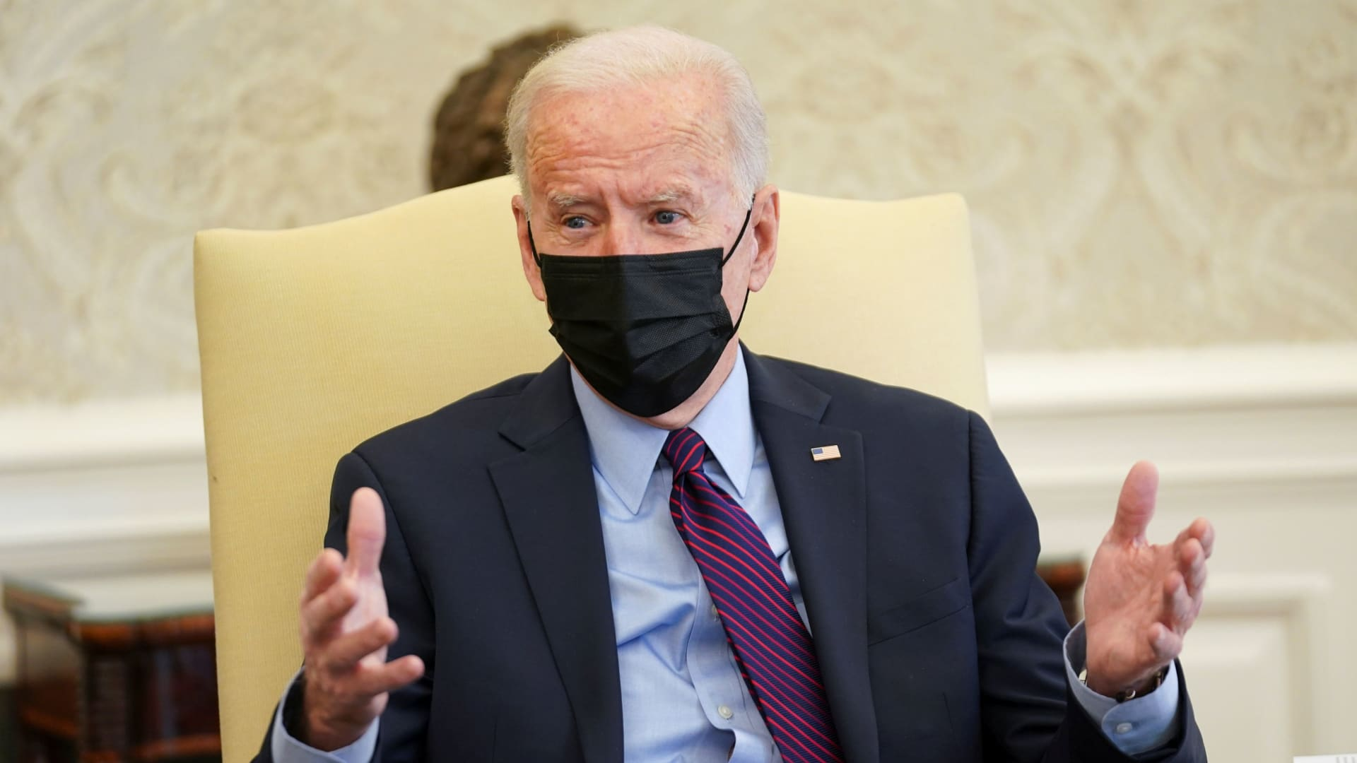 President Joe Biden speaks with House Democratic leaders and chairs of House committees working on coronavirus disease (COVID-19) aid legislation during a meeting in the Oval Office at the White House in Washington, U.S., February 5, 2021.