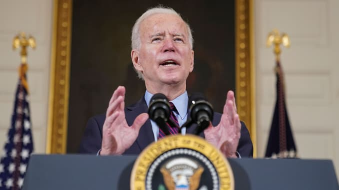 President Joe Biden delivers remarks on the state of the U.S. economy and the need to pass coronavirus disease (COVID-19) aid legislation during a speech in the State Dining Room at the White House in Washington, U.S., February 5, 2021.