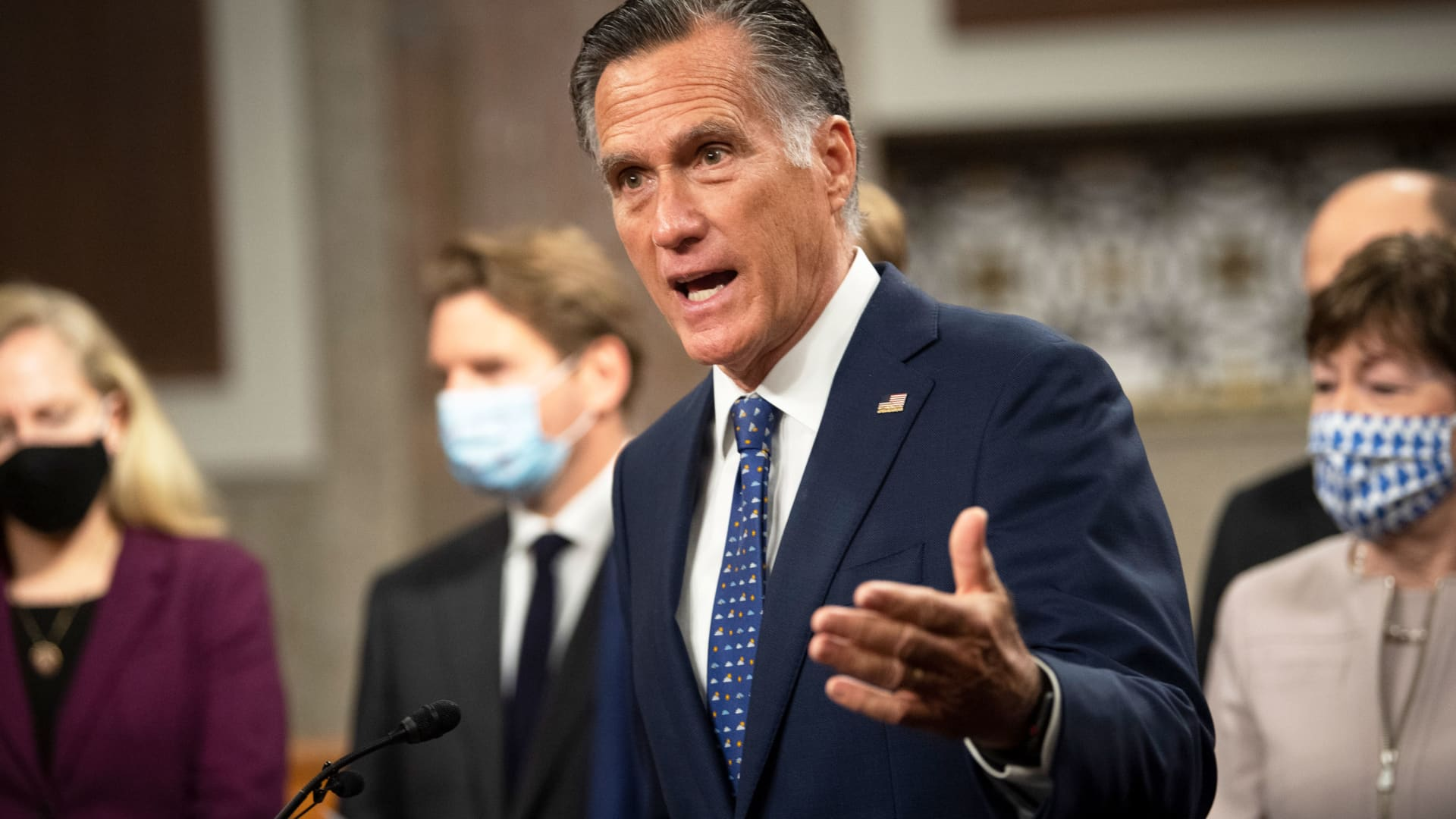 Sen. Mitt Romney, R-Utah, speaks during a news conference with a group of bipartisan lawmakers to unveil a COVID-19 emergency relief framework in the Dirksen Senate Office Building in Washington on Tuesday, Dec. 1, 2020.