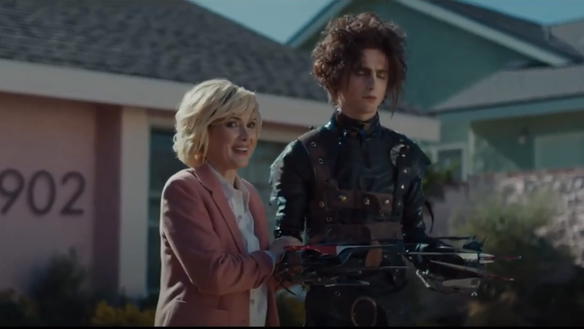 A 60-second Super Bowl ad for Cadillac stars Timothée Chalamet, as Edward Scissorhands's son, Edgar, and Winona Ryder, reprising her role as Kim, who is also Edgar's mother.