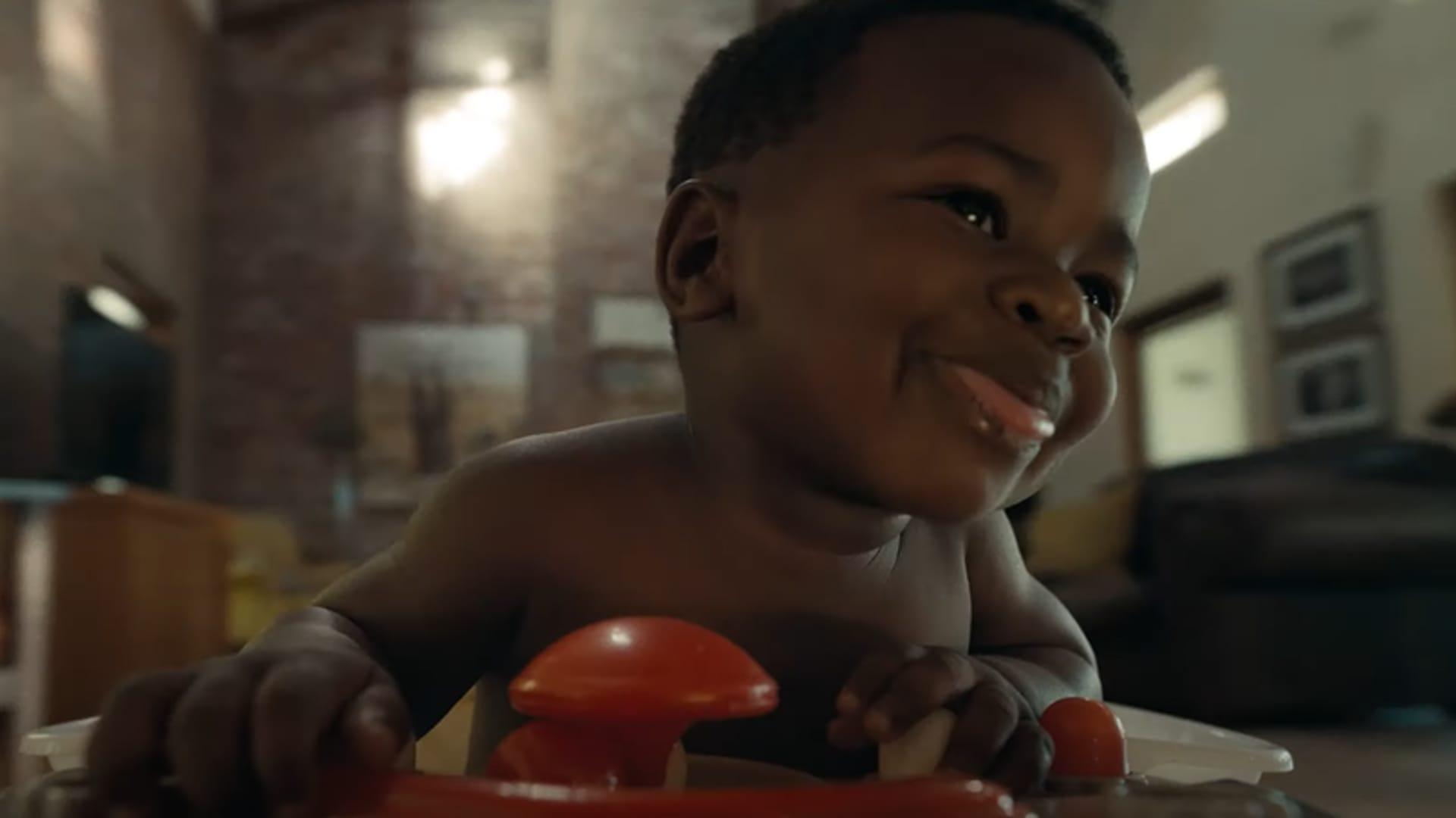 Still from Huggies' Super Bowl ad.