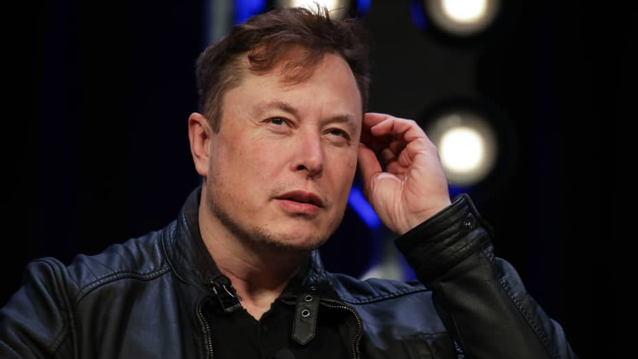 Elon Musk, Founder and Chief Engineer of SpaceX, speaks during the Satellite 2020 Conference in Washington, DC, United States on March 9, 2020.