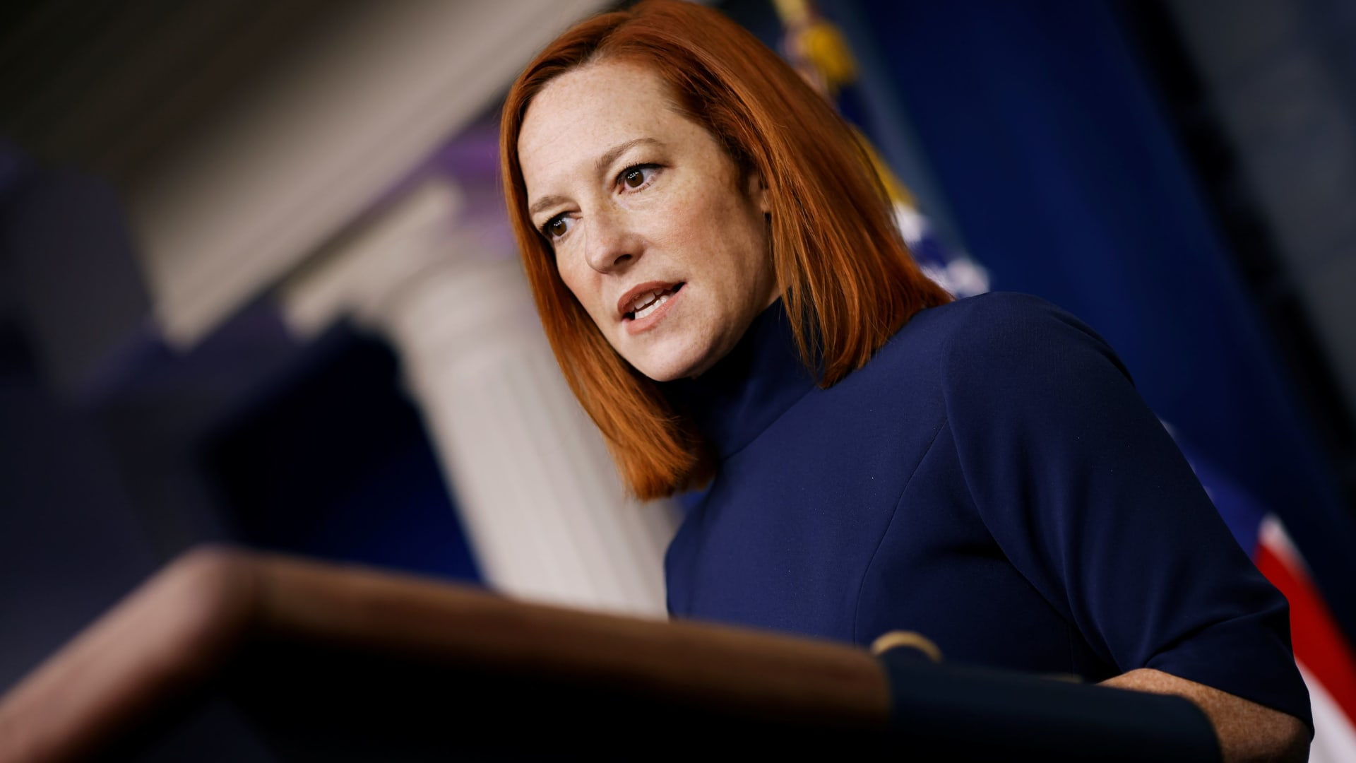 White House Press Secretary Jen Psaki delivers remarks during a press briefing at the White House in Washington, February 8, 2021.
