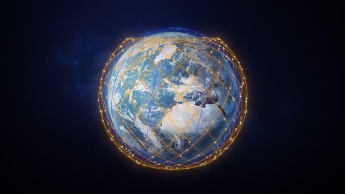 Gambar konstelasi broadband orbit rendah bumi Telesat