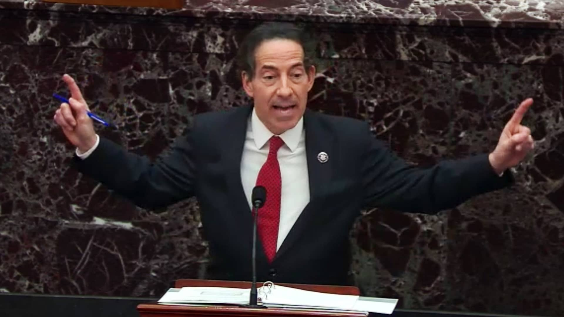 Representative Jamie Raskin, a Democrat from Maryland, speaks in the Senate Chamber in a video screenshot in Washington, D.C., U.S., on Tuesday, Feb. 9, 2021.