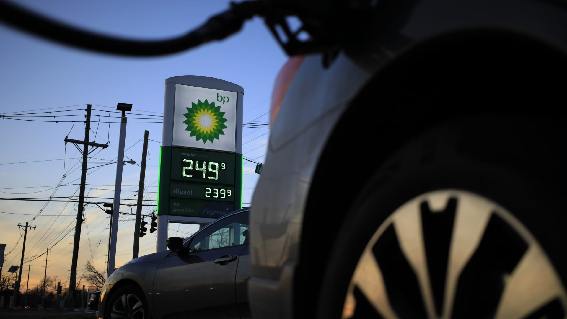 Fuel prices on a sign at a BP gas station in Louisville, Kentucky, on Friday, Jan. 29, 2021.