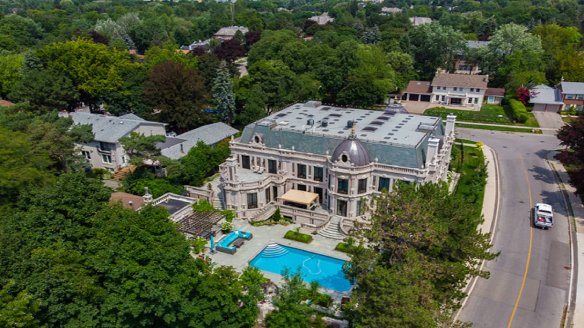 Aerial view of 30 Fifeshire Road in Toronto, Canada