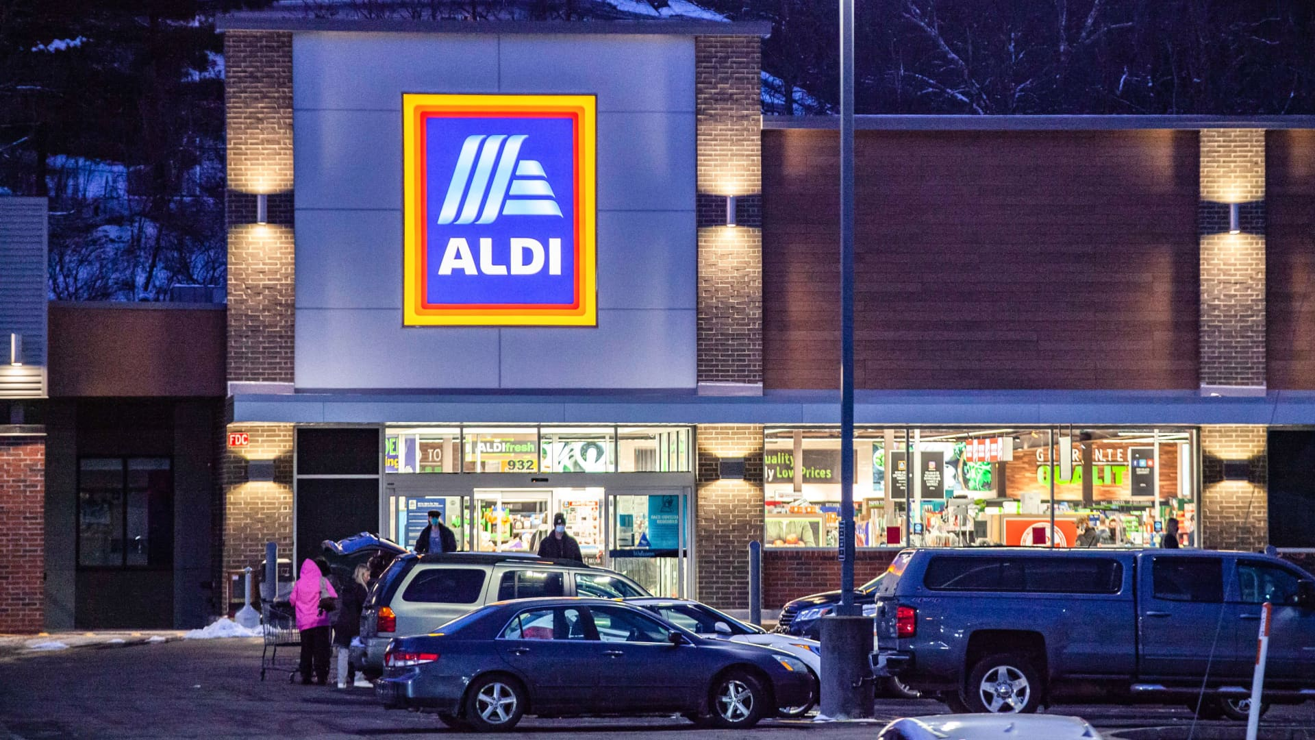 An Aldi logo is seen at one of their stores in Athens, Ohio.