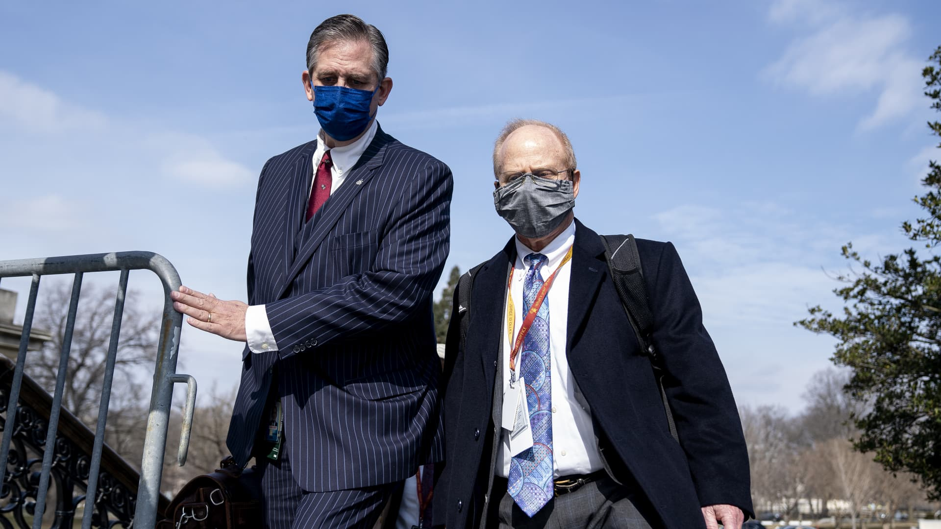 Defense attorneys for Donald Trump, Bruce Castor, left, and David Schoen wear protective masks while arriving to the U.S. Capitol in Washington, D.C., on Wednesday, Feb. 10, 2021.