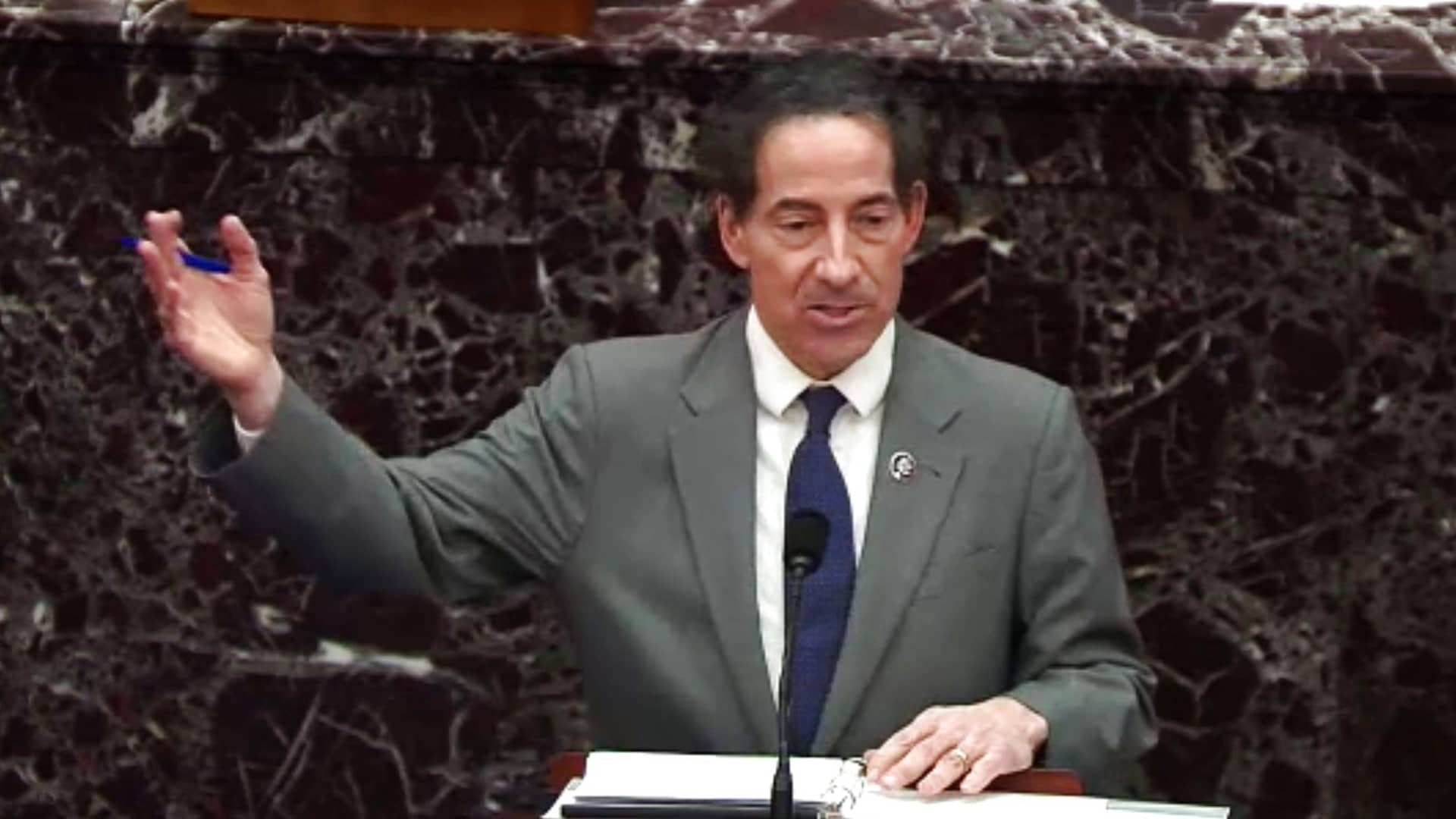 Representative Jamie Raskin, a Democrat from Maryland, speaks in the Senate Chamber in a video screenshot in Washington, D.C., on Wednesday, Feb. 10, 2021.