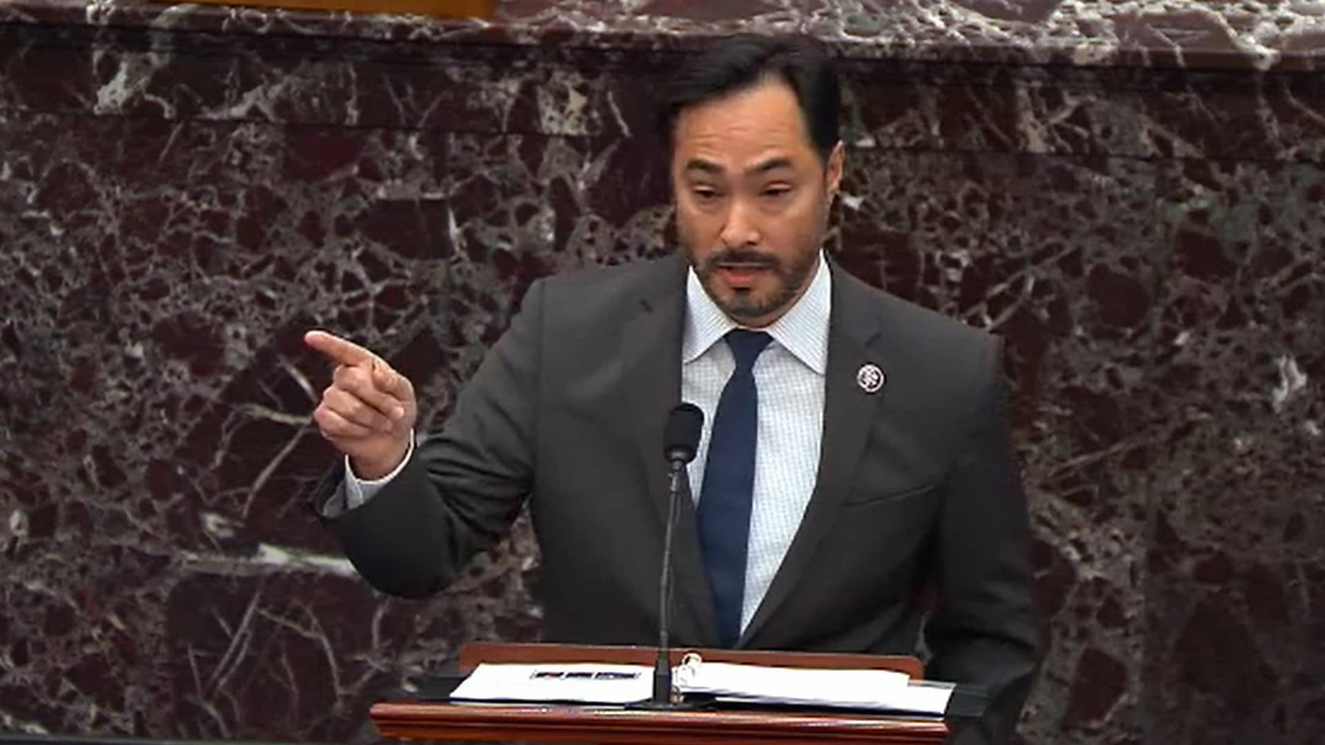 In this screenshot taken from a congress.gov webcast, Impeachment Manager Rep. Joaquin Castro (D-TX) speaks on the second day of former President Donald Trump's second impeachment trial at the U.S. Capitol on February 10, 2021 in Washington, DC.