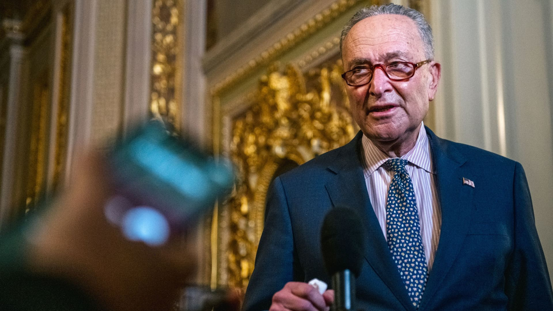 U.S. Senate Majority Leader Chuck Schumer (D-NY) speaks to reporters in The Senate Reception Room during the second day of Trump's second impeachment trial in Washington, February 10, 2021.