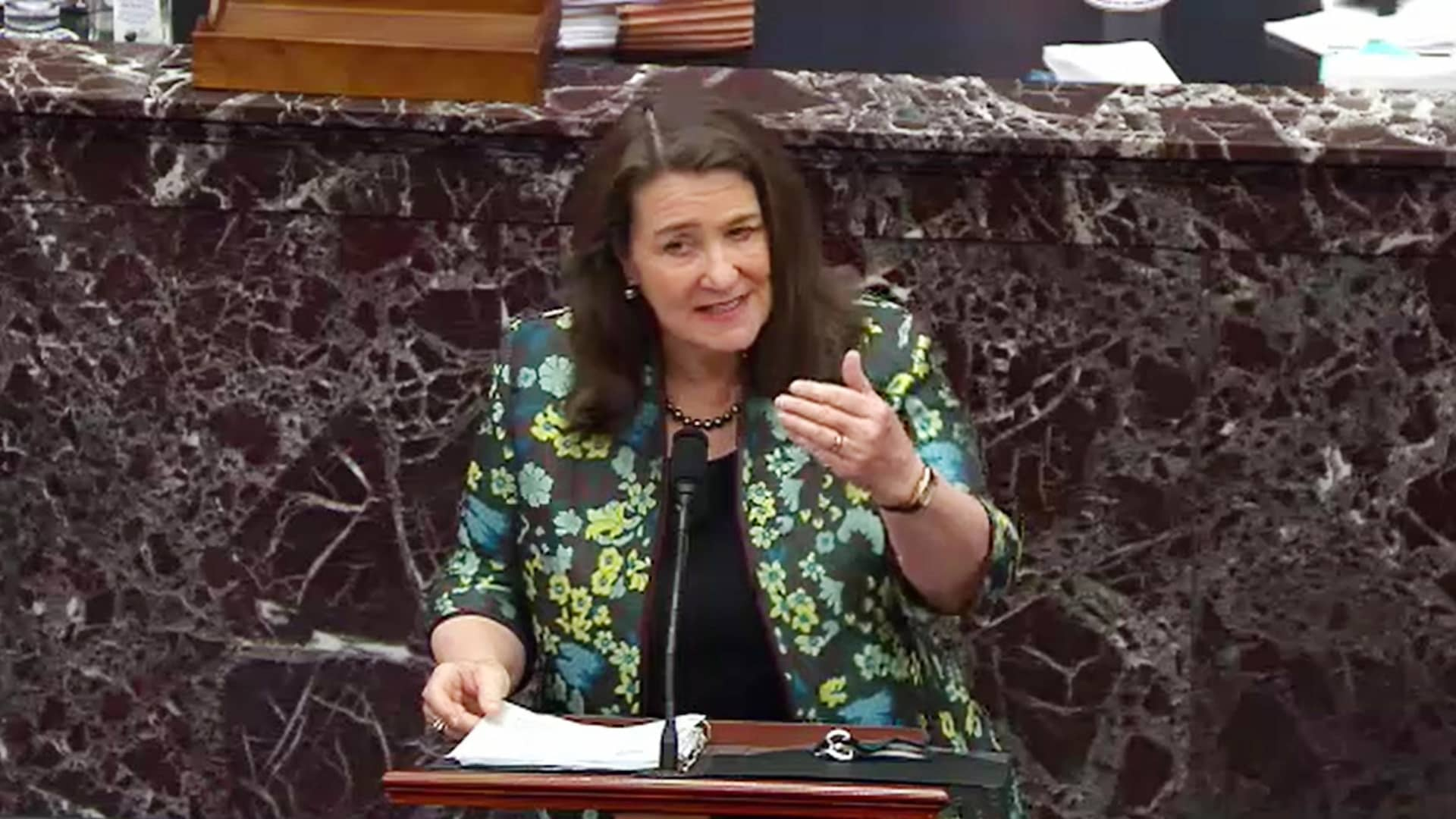 In this screenshot taken from a congress.gov webcast, Rep. Diana DeGette (D-CO) speaks on the third day of former President Donald Trump's second impeachment trial at the U.S. Capitol on February 11, 2021 in Washington, DC.