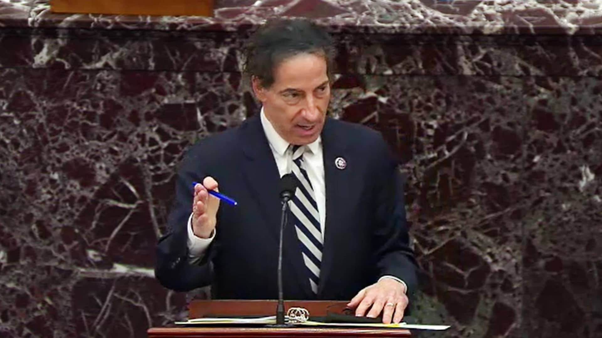 In this screenshot taken from a congress.gov webcast, Lead Impeachment Manager Rep. Jamie Raskin (D-MD) speaks on the third day of former President Donald Trump's second impeachment trial at the U.S. Capitol on February 11, 2021 in Washington, DC.