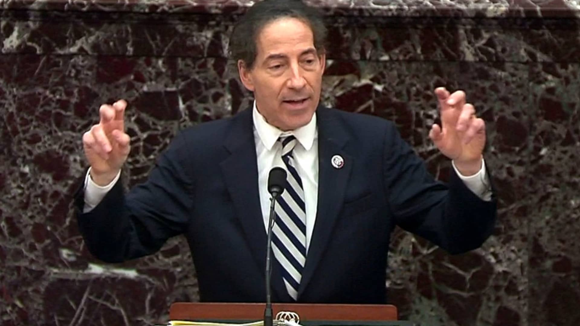 U.S. House lead impeachment manager Rep. Jamie Raskin (D-MD) pleads the impeachment managers' case in the impeachment trial of former U.S. President Donald Trump on charges of inciting the deadly attack on the U.S. Capitol, on the floor of the Senate chamber on Capitol Hill in Washington, February 11, 2021.