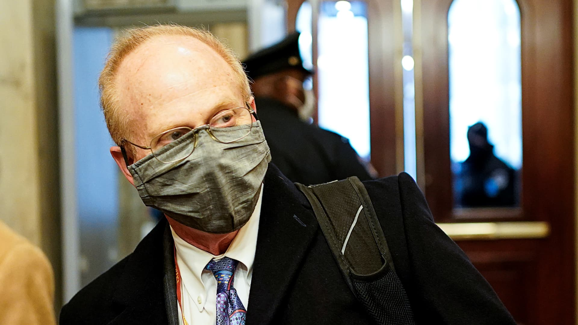 Trump attorney David Schoen arrives prior to the start of opening arguments in the impeachment trial of former U.S. President Donald Trump, on charges of inciting the deadly attack on the U.S. Capitol, on Capitol Hill in Washington, February 10, 2021.
