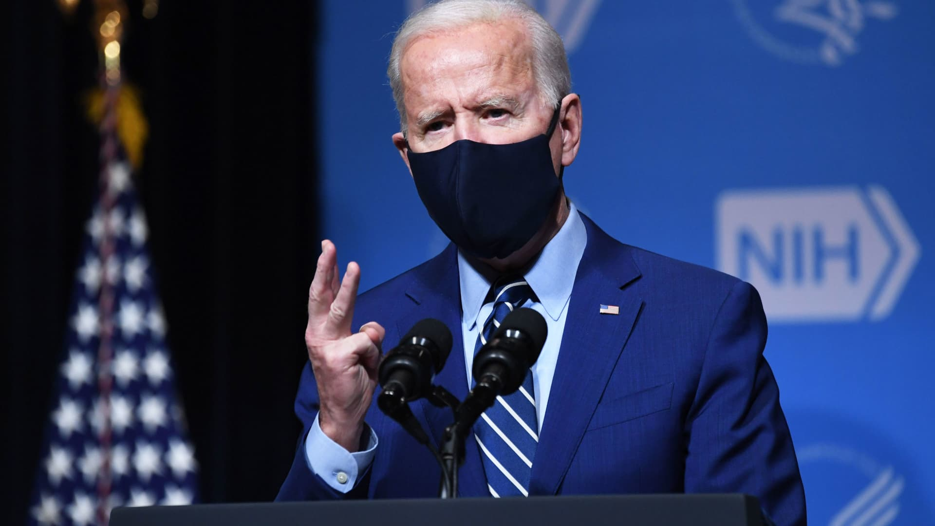 President Joe Biden speaks during a visit to the National Institutes of Health (NIH) in Bethesda, Maryland, February 11, 2021.