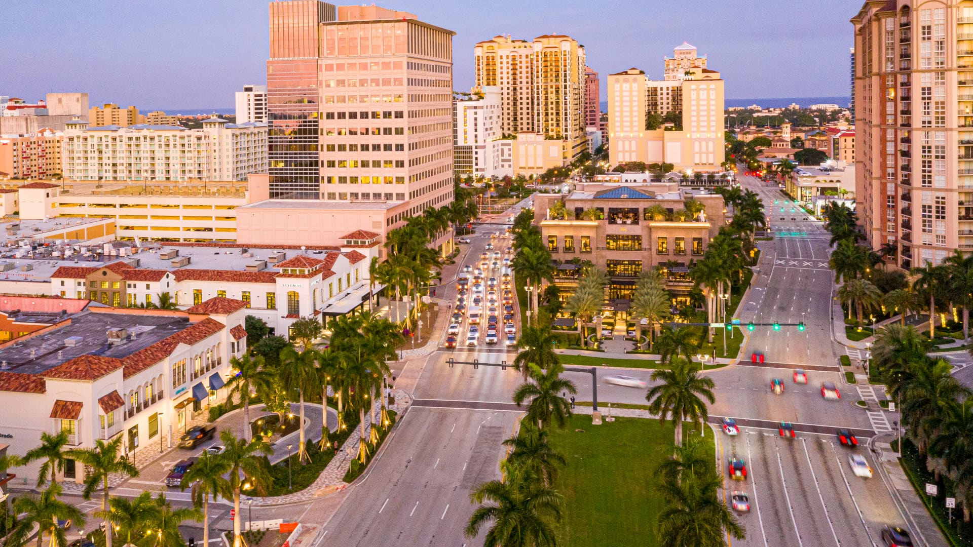 An aerial view over downtown West Palm Beach, where RH in December 2017 opened an 80,000-square-foot, mansion-like store with a rooftop restauratnt.