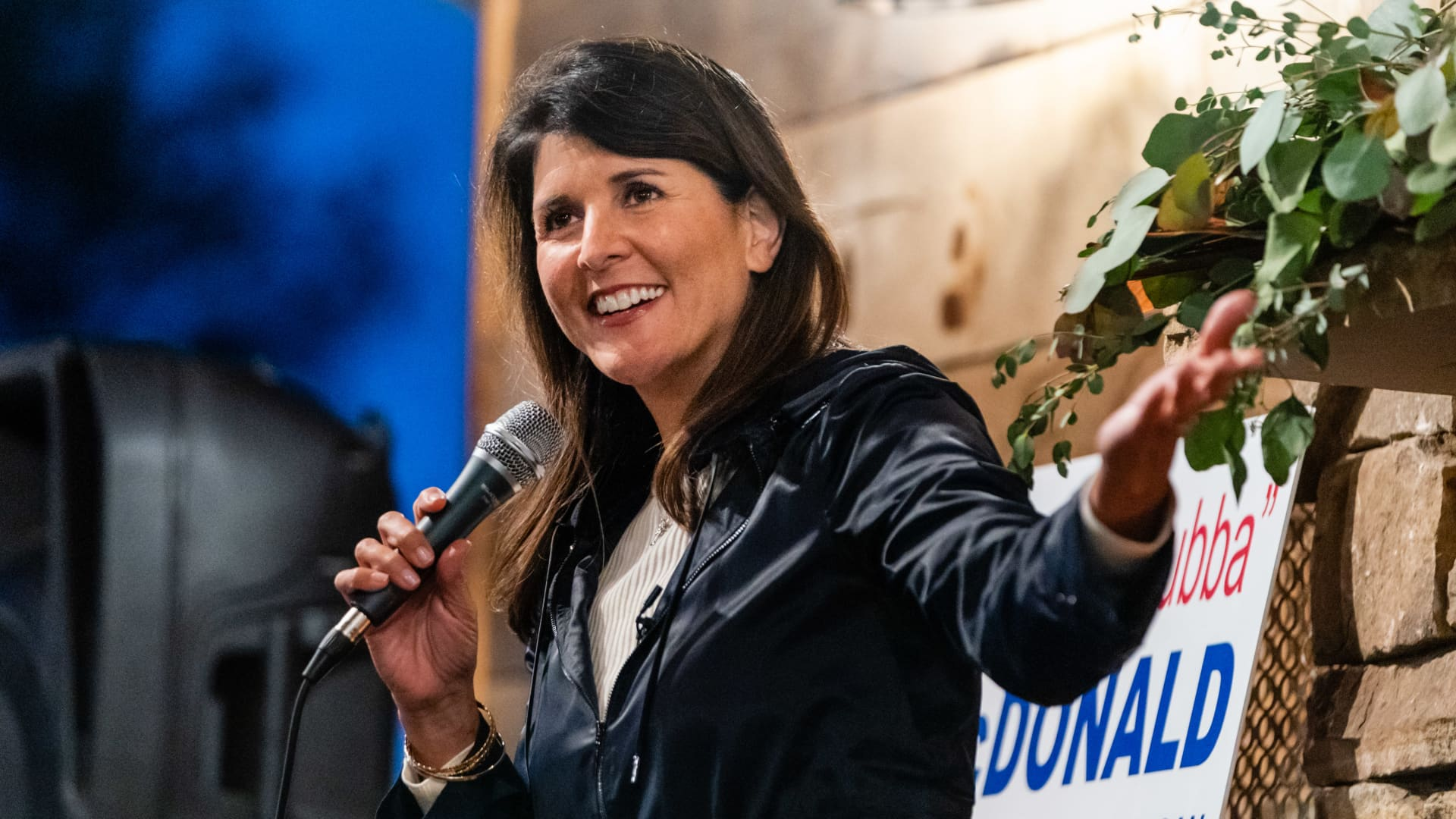 Nikki Haley, former ambassador to the United Nations, speaks at a campaign rally for Senators David Perdue and Kelly Loeffler in Cumming, Georgia, U.S., on Sunday, Dec. 20, 2020.
