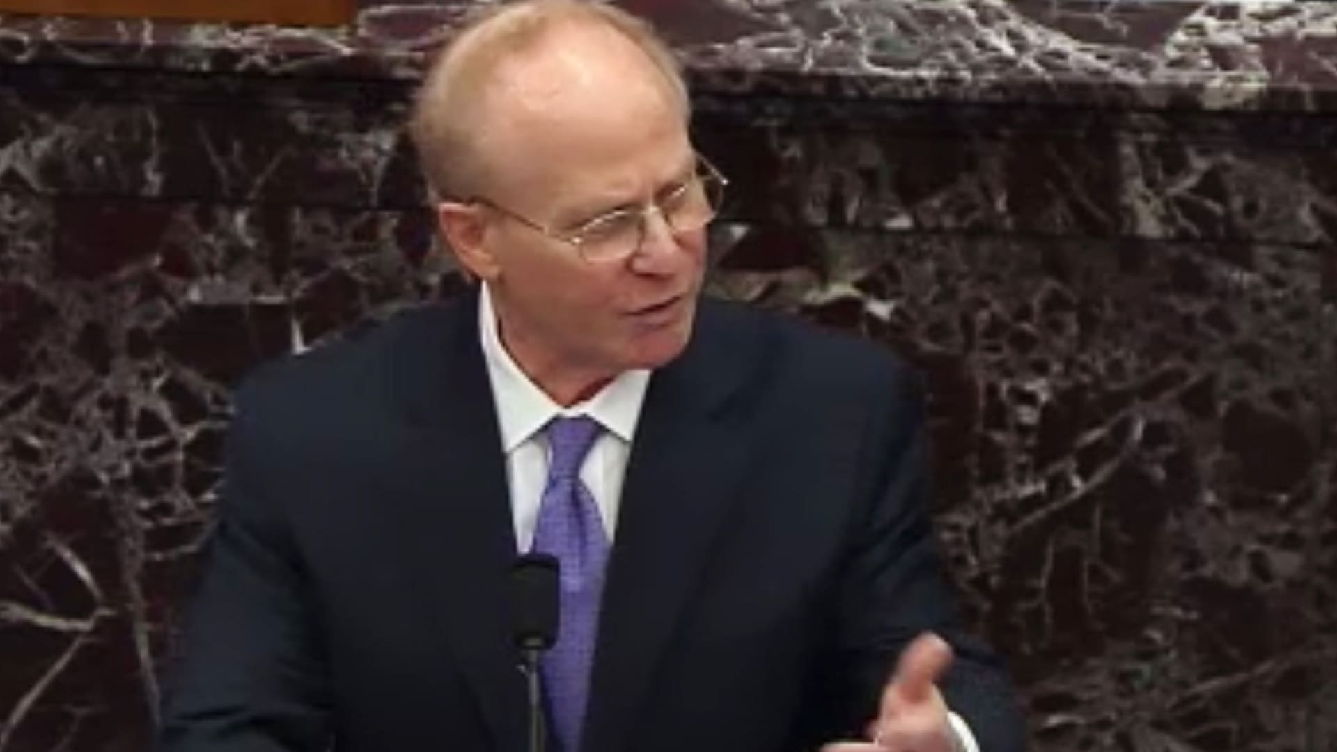 David Schoen, defense attorney for Donald Trump, speaks in the Senate Chamber in a video screenshot in Washington, D.C., on Friday, Feb. 12, 2021.