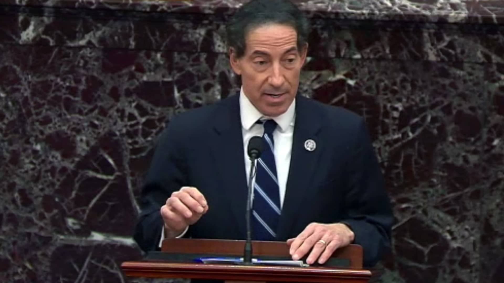 In this screenshot taken from a congress.gov webcast, lead House impeachment manager Rep. Jamie Raskin (D-MD) speaks on the fifth day of former President Donald Trump's second impeachment trial at the U.S. Capitol on February 13, 2021 in Washington, DC.