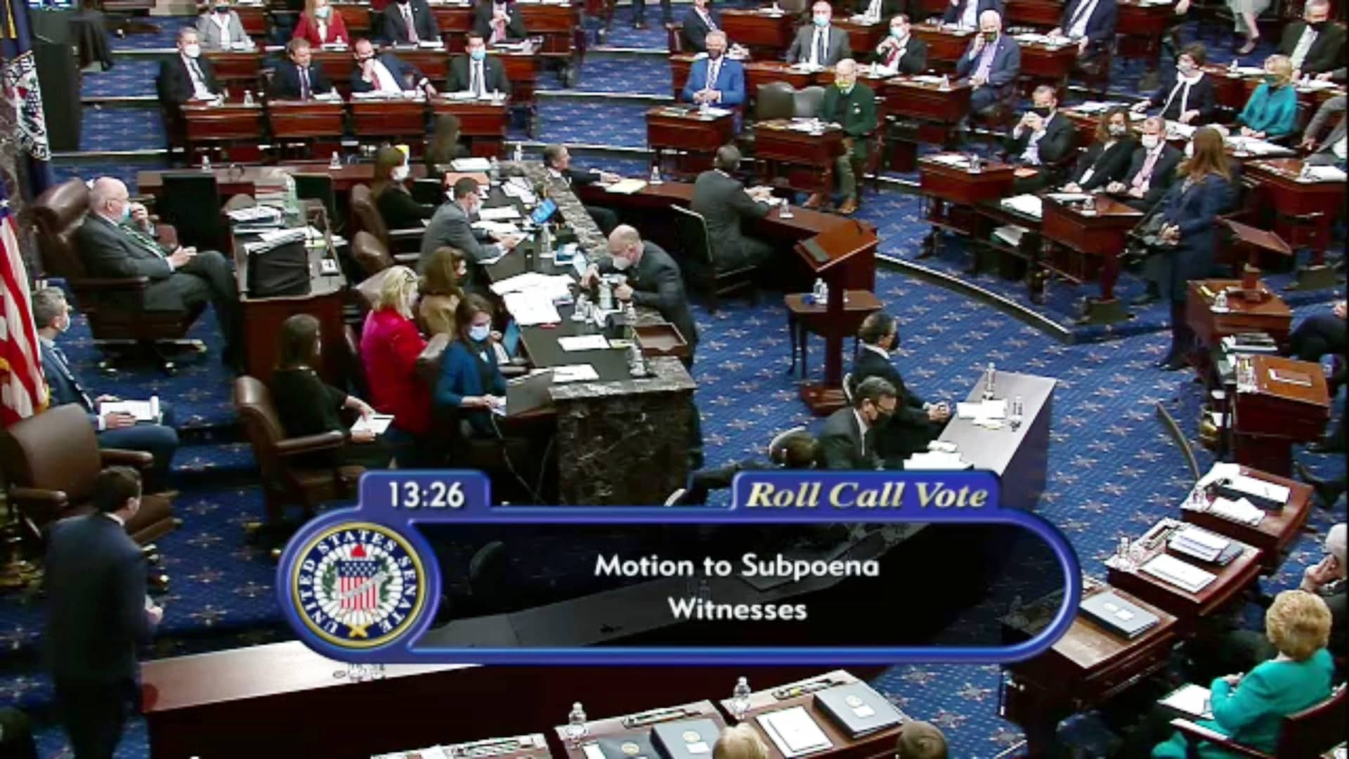 In this screenshot taken from a congress.gov webcast, a roll call vote is taken on a motion to subpoena witnesses on the fifth day of former President Donald Trump's second impeachment trial at the U.S. Capitol on February 13, 2021 in Washington, DC.