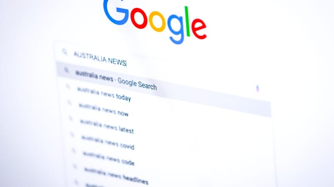 Tìm kiếm 'Tin tức nước Úc' trên trang chủ Google, được sắp xếp trên máy tính để bàn ở Sydney, Úc, vào thứ Sáu, ngày 22 tháng 1 năm 2021.