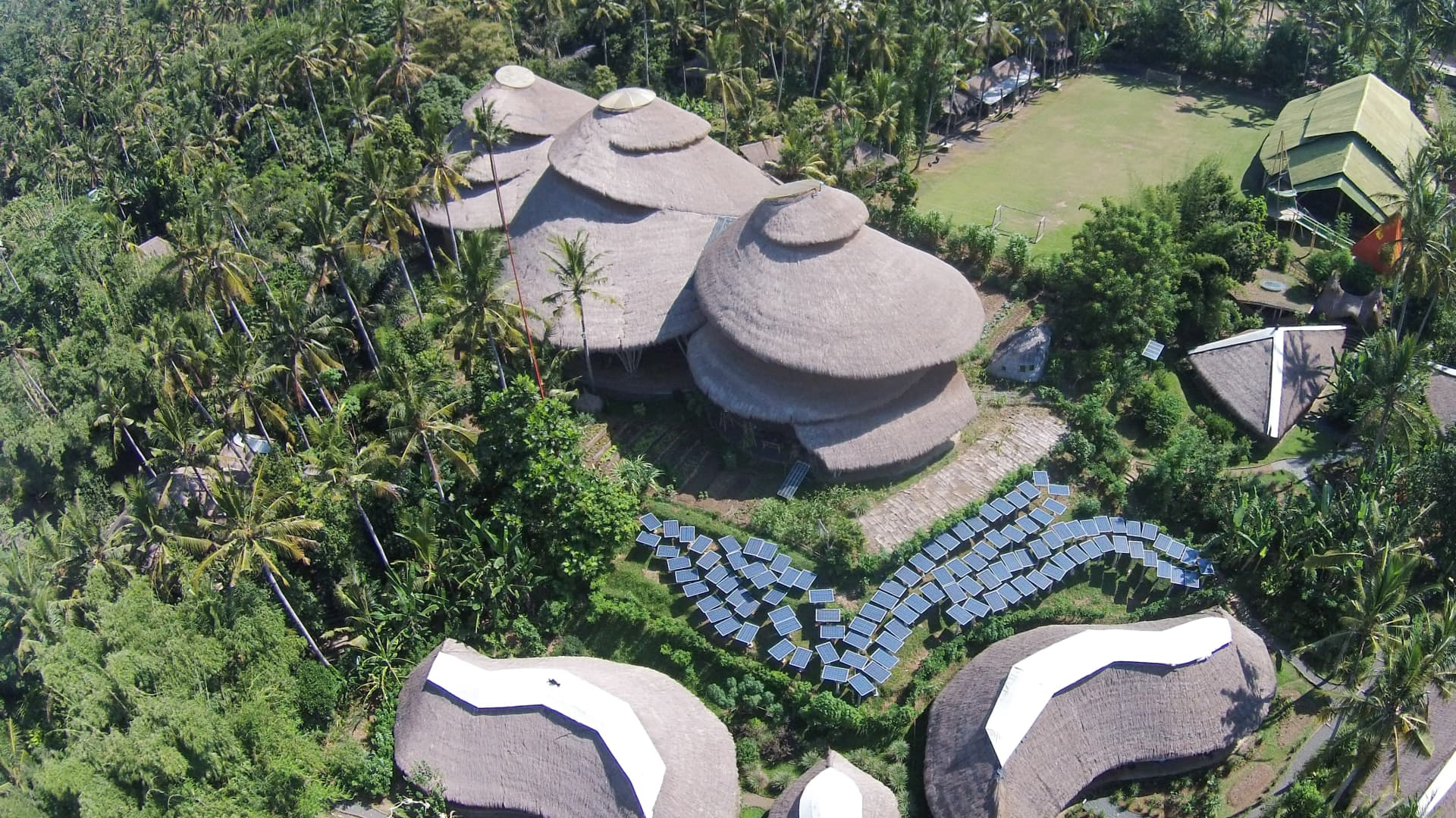 A bird's-eye view of the Green School Bali in Ubud, Indonesia.