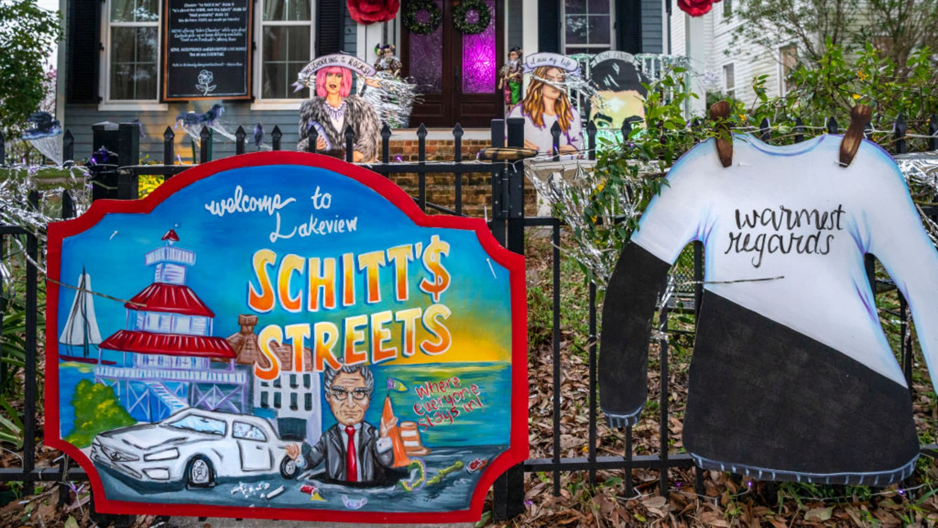 A home in Lakeview is decorated with a Schitt's Creek theme on February 15, 2021 in New Orleans, Louisiana.