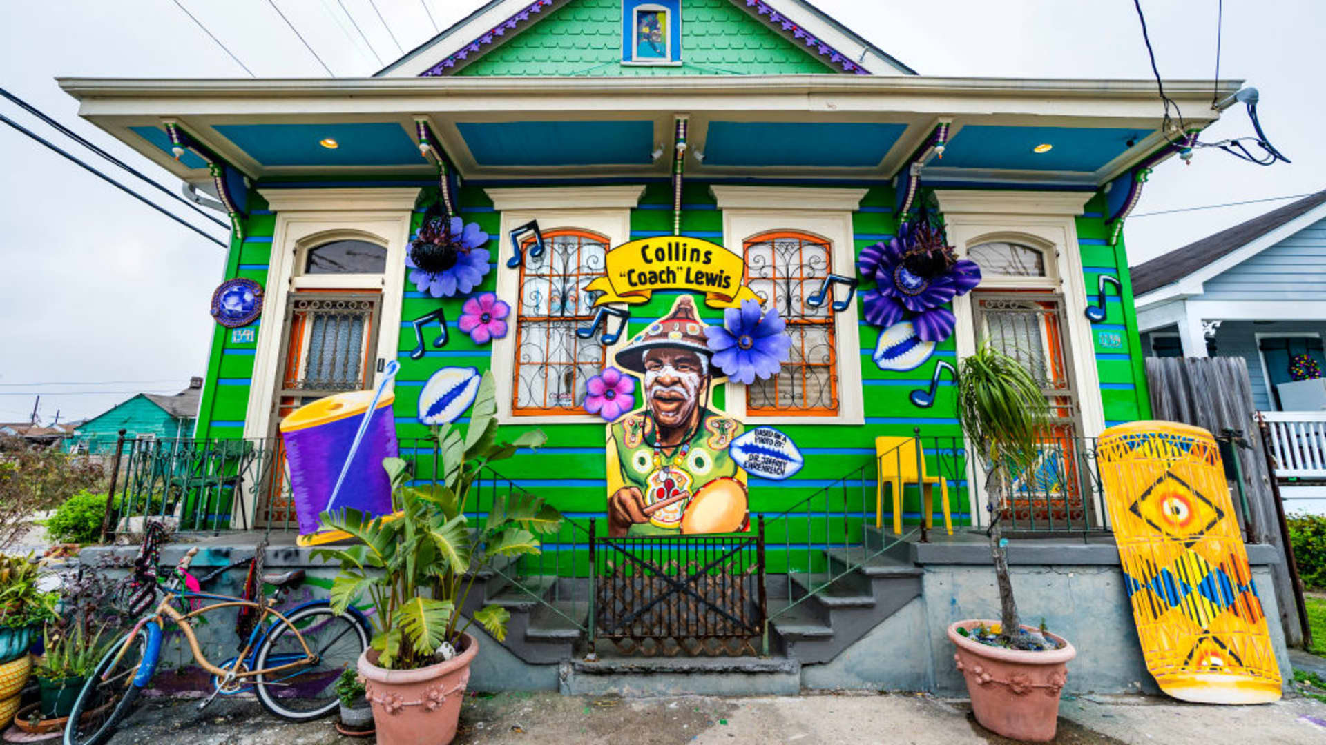 The Coach Lewis House, whose decorations are sponsored by Krewe of Red Beans, honors the life of the 7th Ward Mardi Gras Indian on February 15, 2021 in New Orleans, Louisiana.