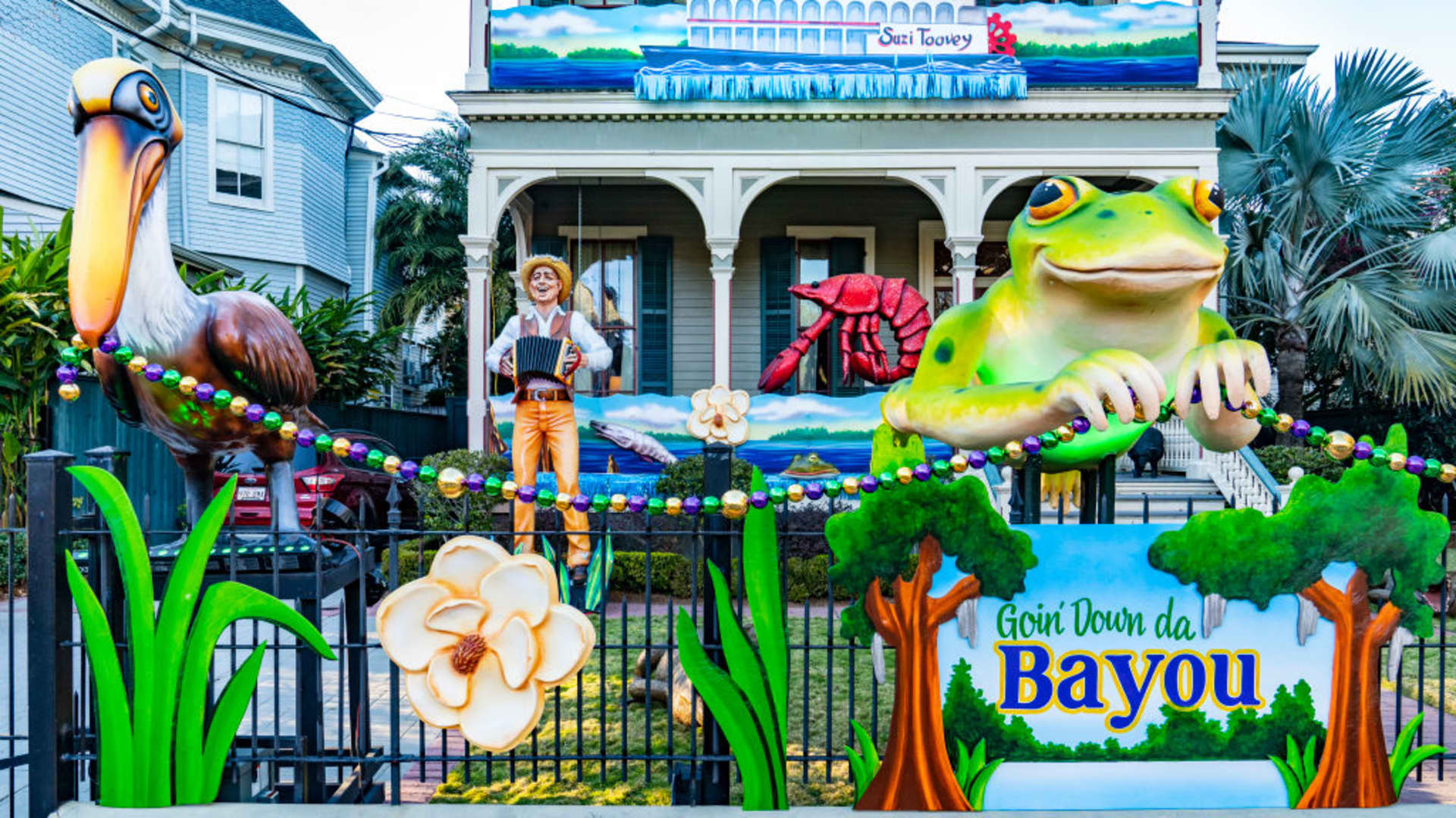 View of Goin Down Da Bayou house on February 07, 2021 in New Orleans, Louisiana. Due to the COVID-19 pandemic cancelling traditional Mardi Gras activities, New Orleanians are decorating their homes and businesses to resemble Mardi Gras floats.