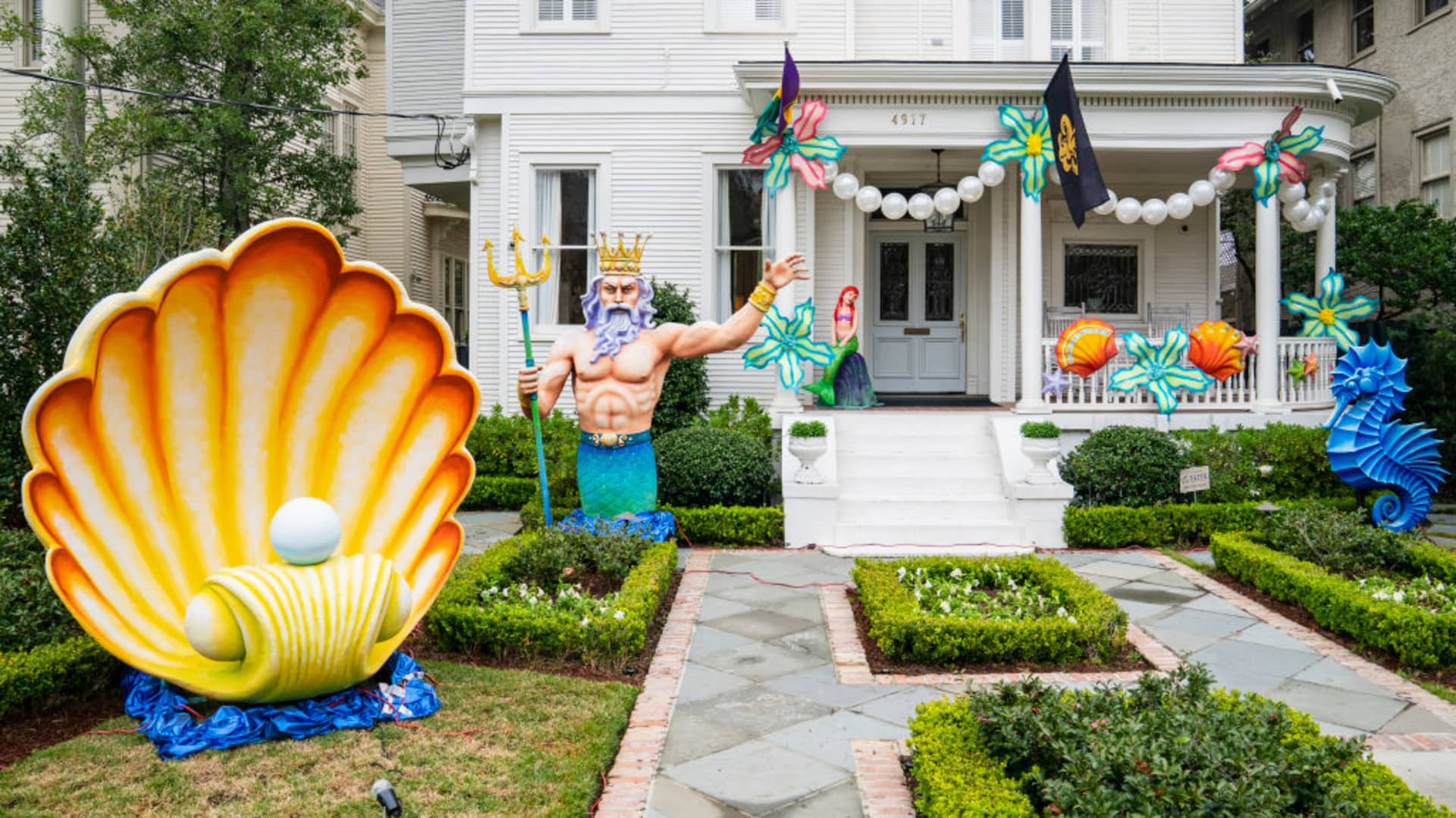 A home on St. Charles Avenue is decorated with The Little Mermaid theme on February 13, 2021 in New Orleans, Louisiana.
