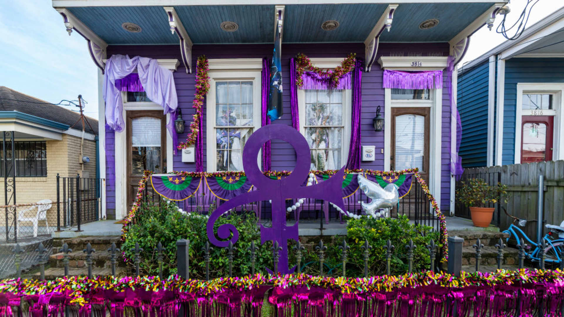 A home is decorated in honor of Prince on February 03, 2021 in New Orleans, Louisiana.