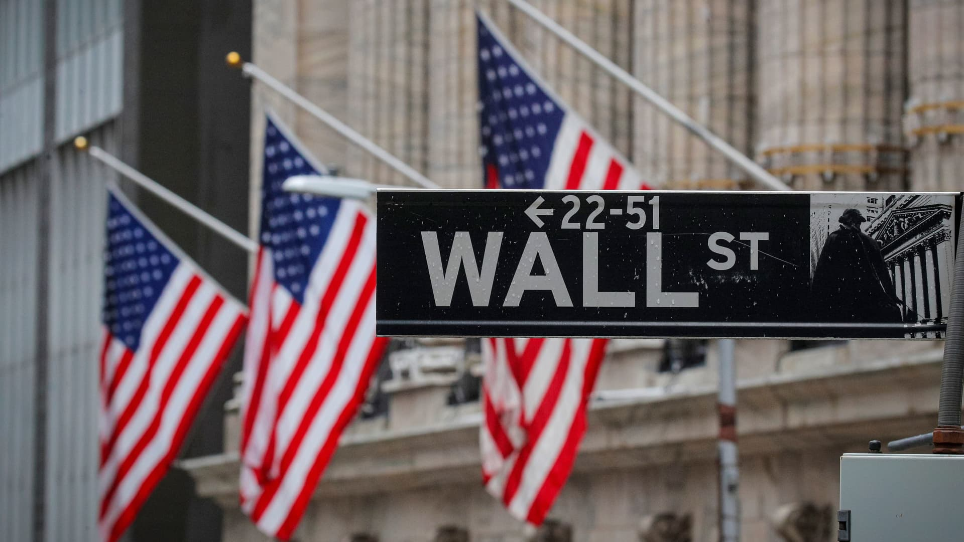 The Wall Street sign is seen outside The New York Stock Exchange (NYSE) in New York, February 16, 2021.